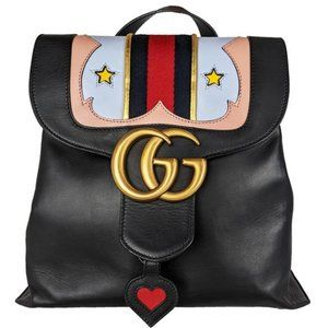 Gucci Marmont Web Gg Flap Chain Black Leather Backpack